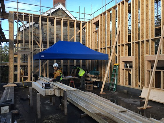 Erecting the Structural timber frame