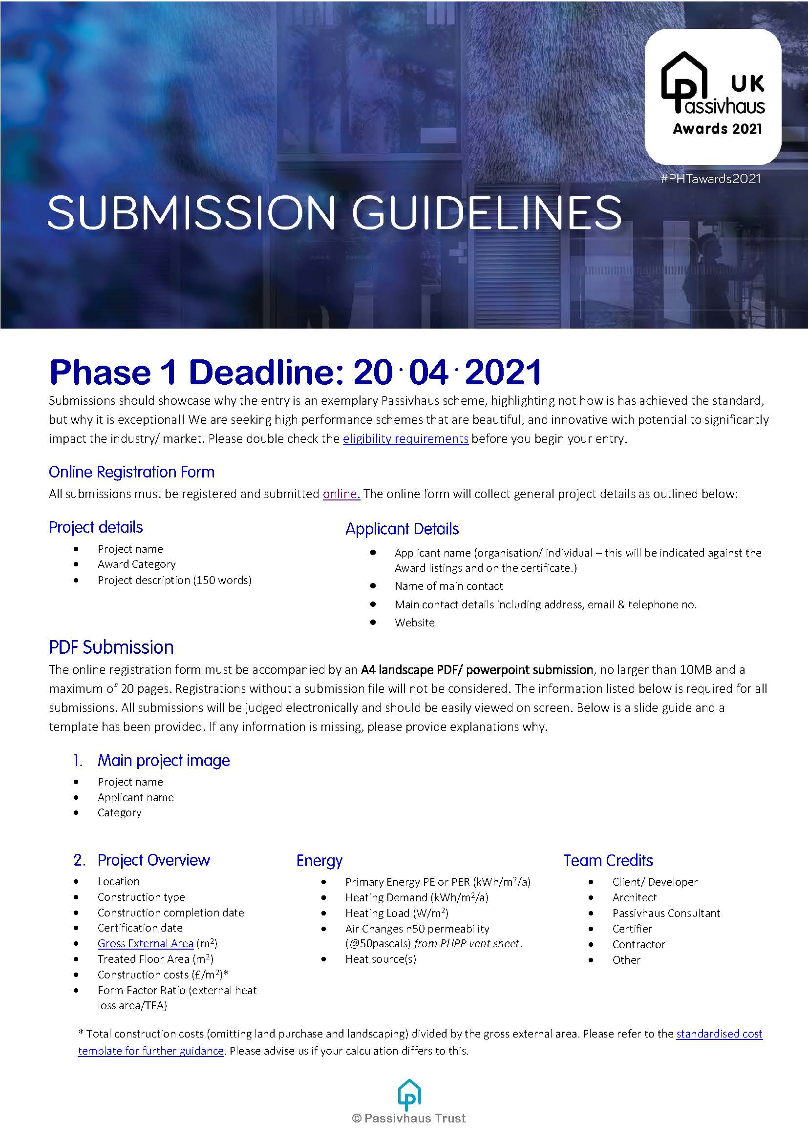 UK Passivhaus Awards 2021 Submission Guidelines