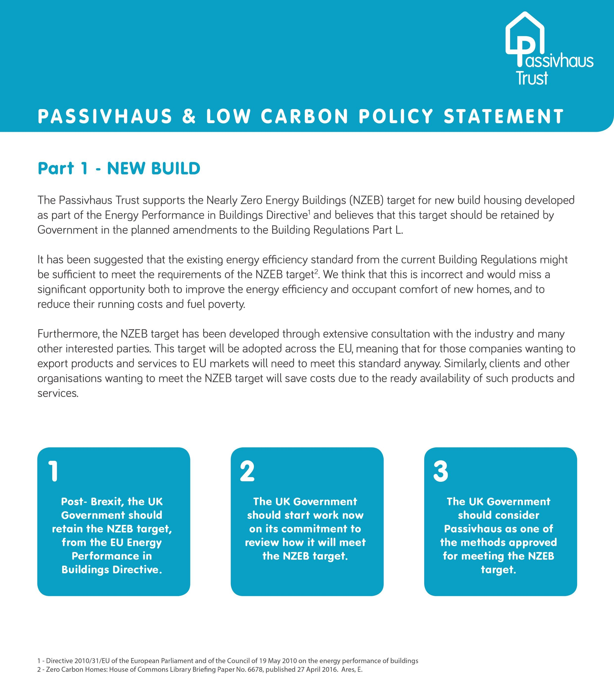 PHT Passivhaus & Zero Carbon policy statement 2015