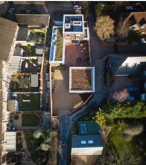 Hampshire Passivhaus aerial view of site